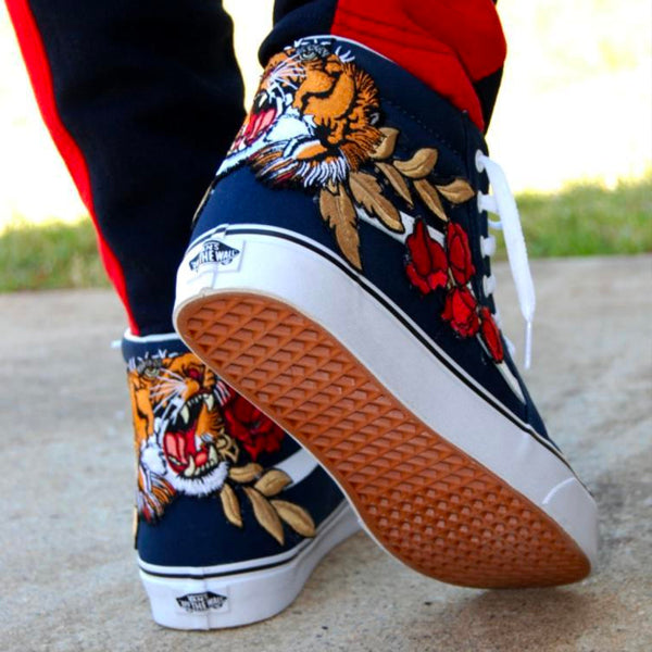 b1b847442c2fbd Custom Embroidered Tiger Rose Vans Navy Sneakers Shoes – kaizzzzen