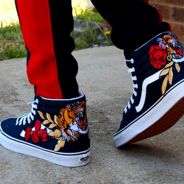 d998c4b04d Custom Embroidered Tiger Rose Vans Navy Sneakers Shoes – kaizzzzen