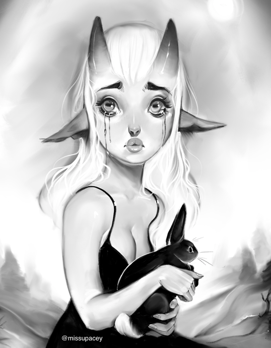 Sad Little Goat Girl