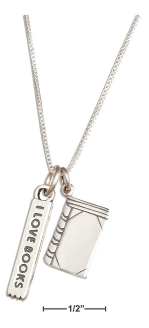 "Sterling Silver 18"" Book Lovers Necklace"