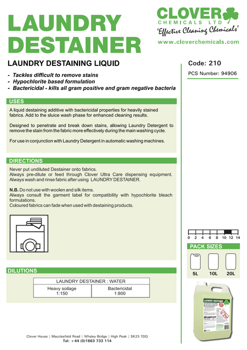 Clover Laundry Destainer - Brilliant Chemical Solutions