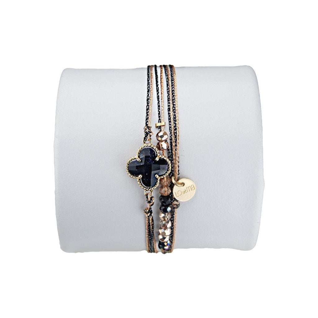 Clover Adjustable black and gold Crystal Bracelet central stone gold golden golded brass 24 carat filled beads made in france french touch buy trendy jewels jewellery online purchase bellite store now