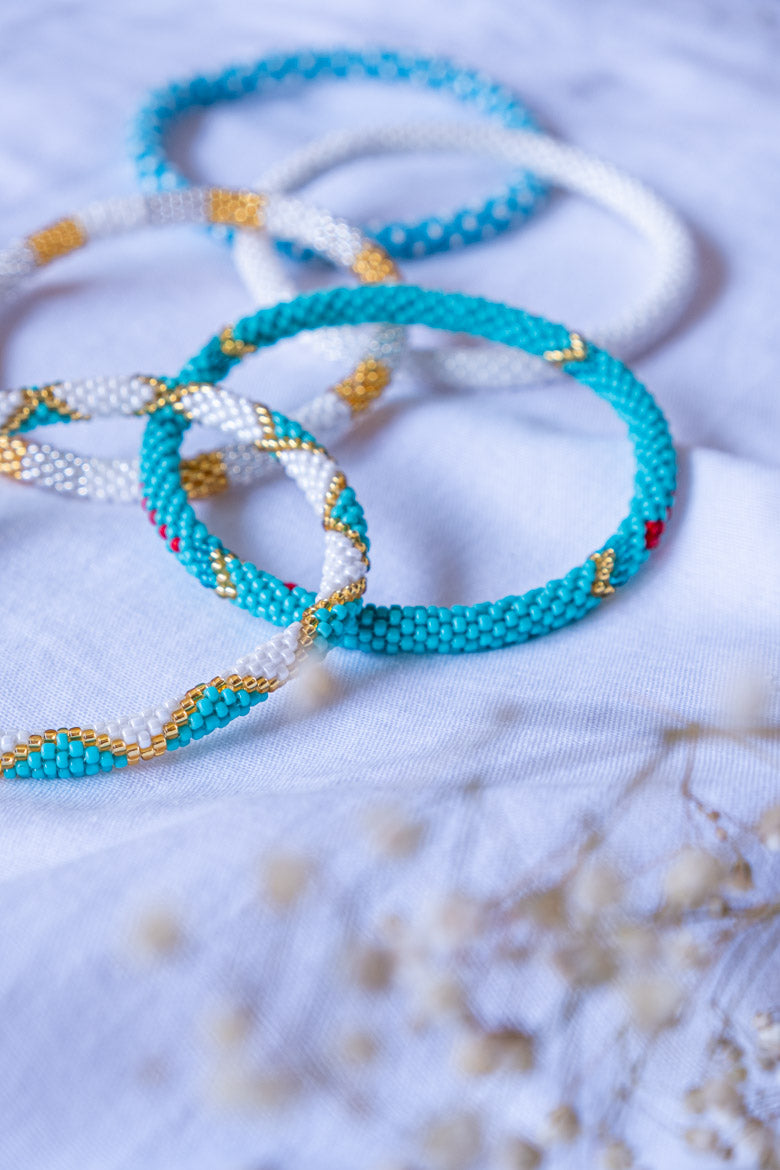sidi bracelet turquoise blue red gold golden japanese glass seedbeads beads pearls shop online purchase trendy fashion bellite