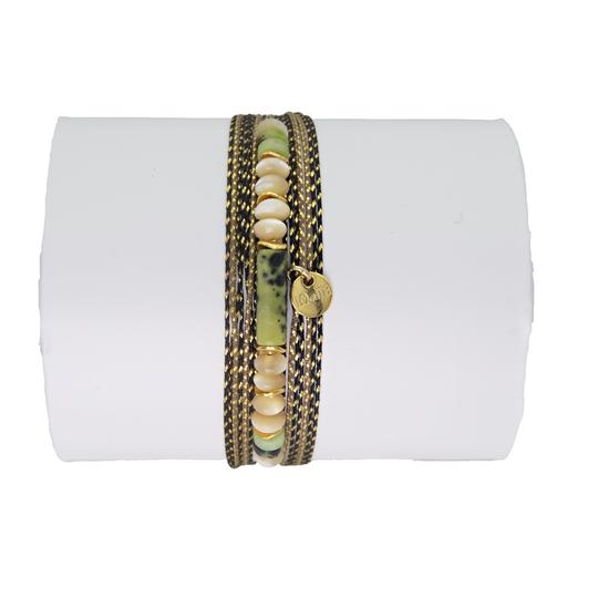 Kirikou Green, White And Gold Adjustable Bracelet buy online jewels jewellery now purchase bellite store shop made in france french touch pearls tigereye