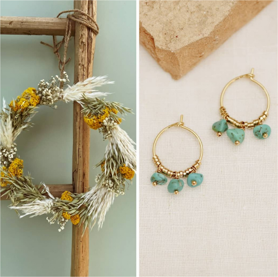 romane creole turquoise stone pearl earrings hoops shop online fashion trendy jewellery 24 carat gold purchase bellite store made in france