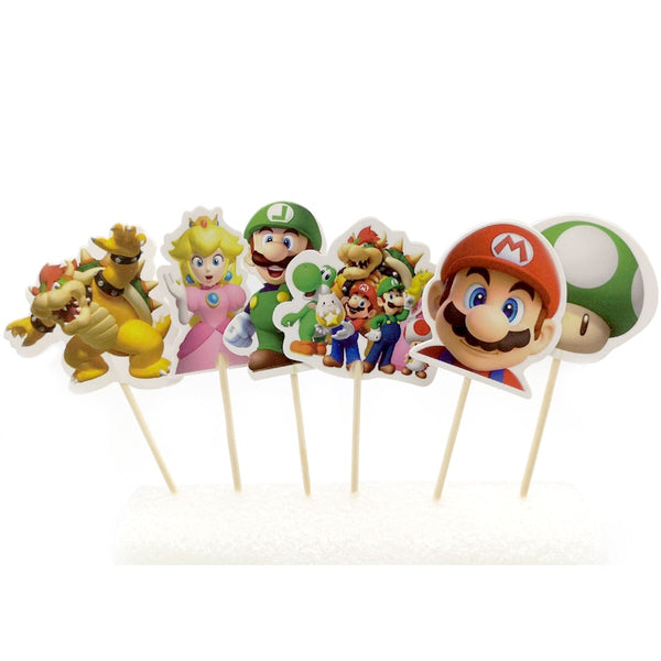 24 Super Mario Cupcake Decoration Sticks
