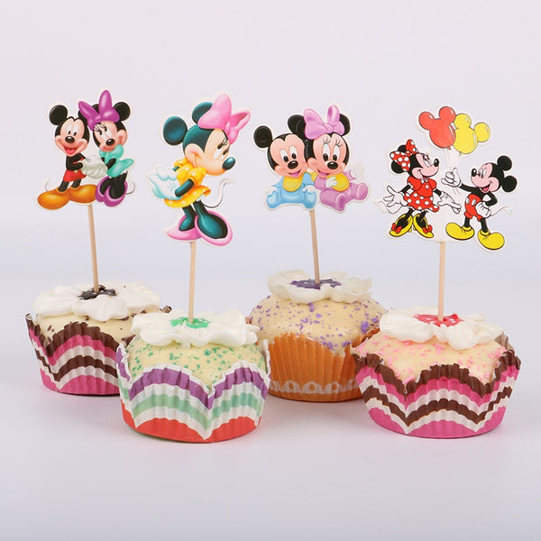 24 Mickey Minnie Mouse Cupcake Topper