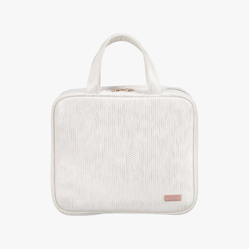 Aruba White Martha Large Briefcase Makeup Bag