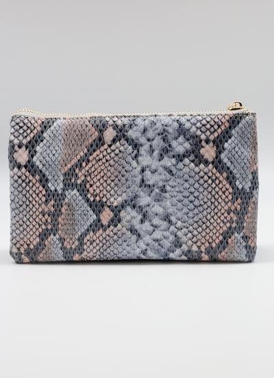 Denim Snake Crossbody Clutch