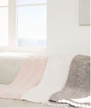 Cozychic Pink Heathered Cable Baby Blanket