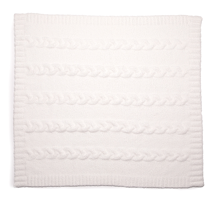 Cozychic White Heathered Cable Baby Blanket