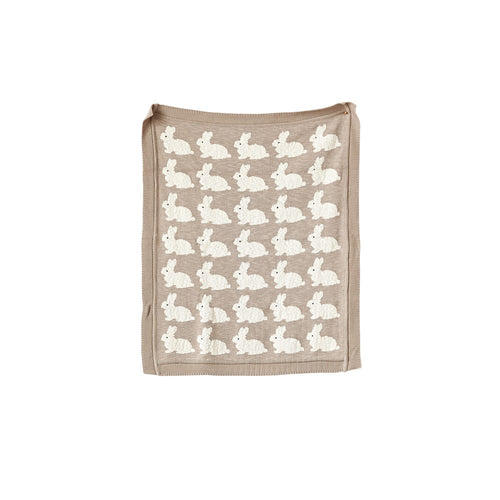 Taupe Rabbit Knit Baby Blanket