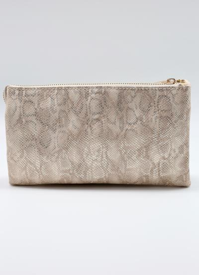 Shimmer Gold Snake Crossbody Clutch