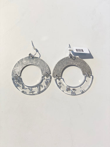 Silver Lucite Open Earrings