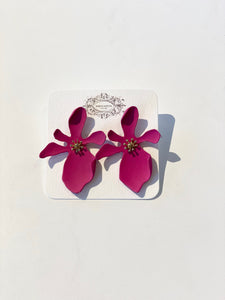 Fuschia Flower Stud Earrings