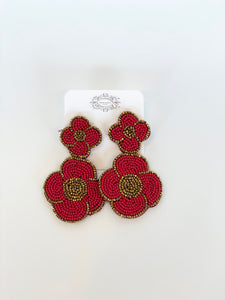 Red Seed Bead Flower Earrings