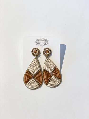 Ivory and Orange Beaded Earrings