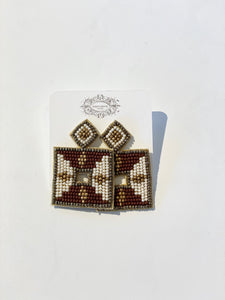 Jayden Burgundy Square Earrings