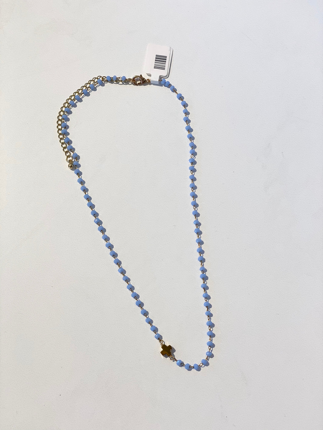 Periwinkle Blue Cross Necklace