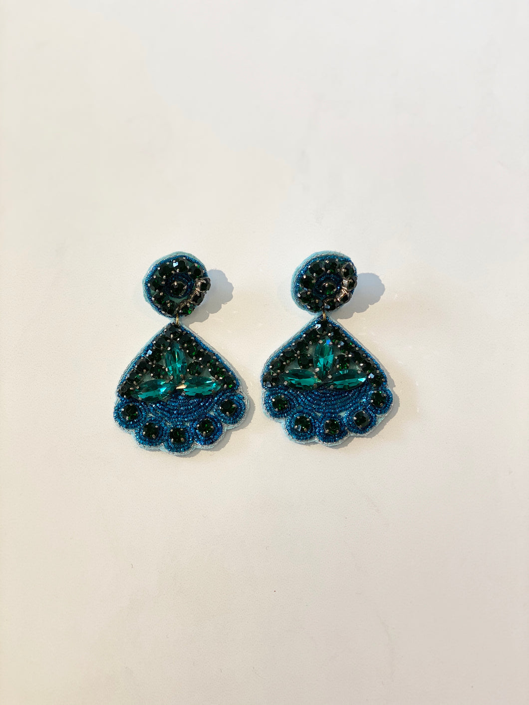 Esther Teal Embellished Earrings