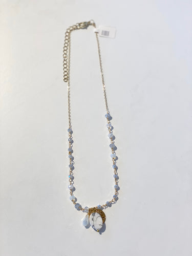 White Grey Crystal Necklace