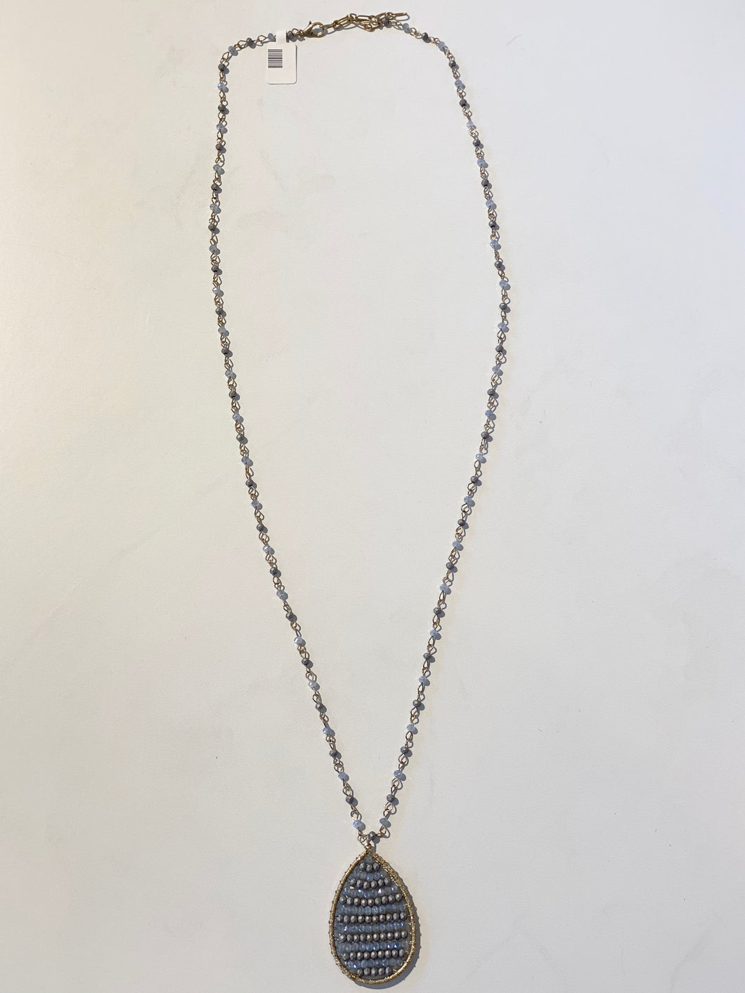 Grey Long Beaded Necklace