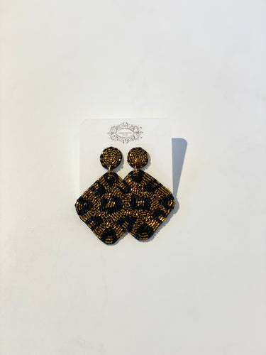 Diamond Leopard Beaded Earrings
