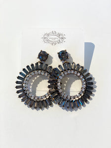 Black and Crystal Round Earrings