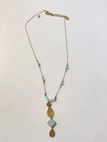 Aqua Bead with Metal Necklace