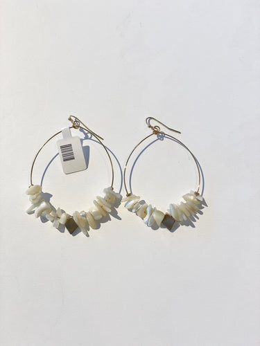 White Semi Beads Earrings