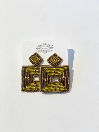 Jayden Square Olive Seed Earrings