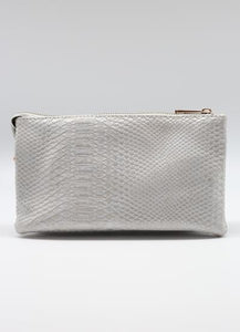 Pale Gray Snake Crossbody Clutch