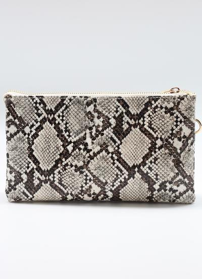 Neutral Snake Crossbody Clutch