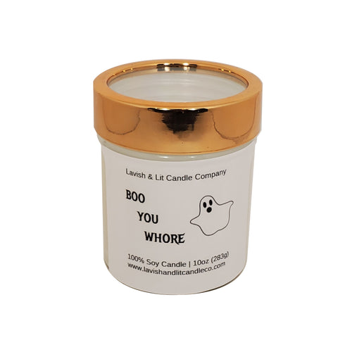 Boo You Whore Candle, Funny Halloween Decor, Halloween Candle