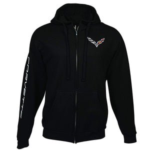 C7 Corvette Born in The USA American Legacy Zip Up Hoodie Jacket : Black