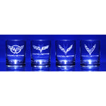 Corvette Glassware Engraved Generations C5-C8 : 13.5 oz. Set of 4