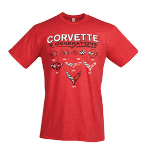 Next Generation Corvette 8 Generations Of Excellence T-shirt : Blue or Red