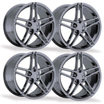 C6Z06 Style Corvette Wheels (Set): Black Chrome-Reproduction Wheels-Factory Reproductions