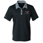 C7 Corvette Adidas Performance Colorblock Polo - Black-Polo Shirts-Ralph White Merchandising