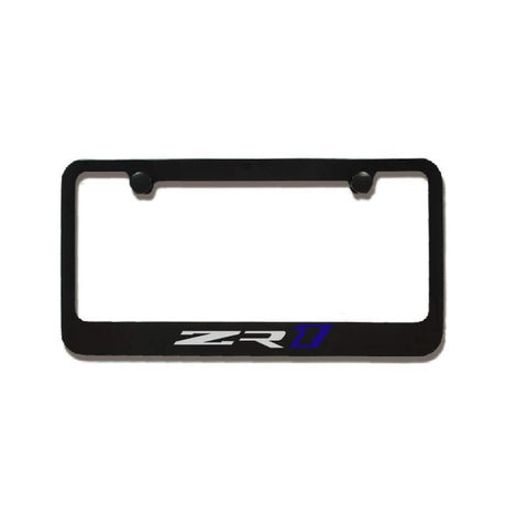 C7 Corvette Black License Plate Frame w/ZR1 Script-License Plate Frames-Elite Automotive Products, Inc.