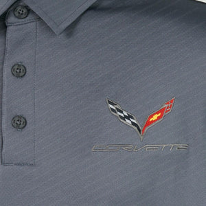 C7 Corvette Crossed Flags Under Armour Tech Polo Shirt-Polo Shirts-Ralph White Merchandising