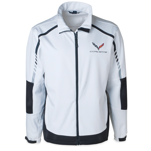 C7 Corvette Embark Soft Shell Jacket : White-Jackets-Ralph White Merchandising