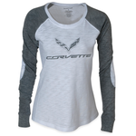 C7 Corvette Ladies Raglan Patch T-shirt : Grey/White-T-shirts-Ralph White Merchandising