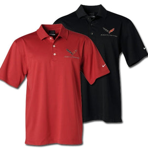 C7 Corvette Polo - Men's Nike Dri-Fit Performance Polo : Black, White or Pro Red-Polo Shirts-Ralph White Merchandising