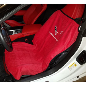 C7 Corvette Seat Armour Seat Cover/Seat Towels - Adrenalin Red : Stingray, Z51, Z06, Grand Sport-Seat Cover - Pull Over-West Coast Corvettes