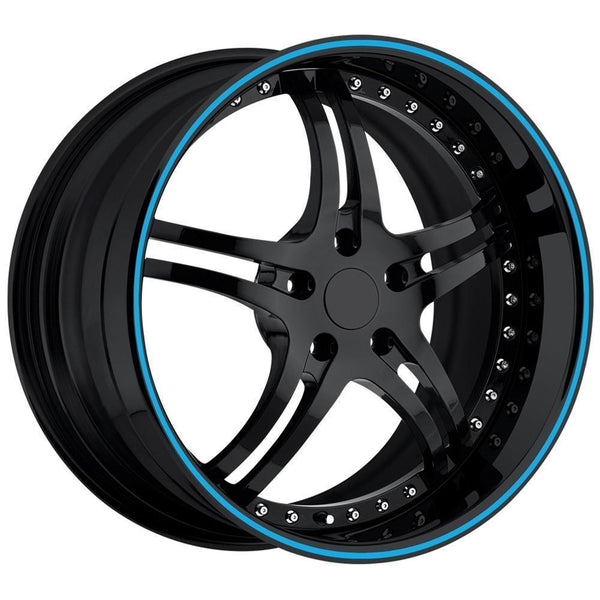 Corvette Custom Wheels - WCC 946 EXT Forged Series : Gloss Black with Blue Stripe-Custom Wheels-SR1 Performance