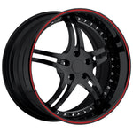 Corvette Custom Wheels - WCC 946 EXT Forged Series : Gloss Black with Red Stripe-Custom Wheels-SR1 Performance