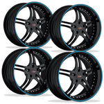 Corvette Custom Wheels - WCC 946 EXT Forged Series (Set) : Gloss Black with Blue Stripe-Custom Wheels-SR1 Performance