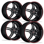 Corvette Custom Wheels - WCC 946 EXT Forged Series (Set) : Gloss Black with Red Stripe-Custom Wheels-SR1 Performance