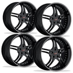 Corvette Custom Wheels - WCC 946 EXT Forged Series (Set) : Gloss Black with Silver Stripe-Custom Wheels-SR1 Performance